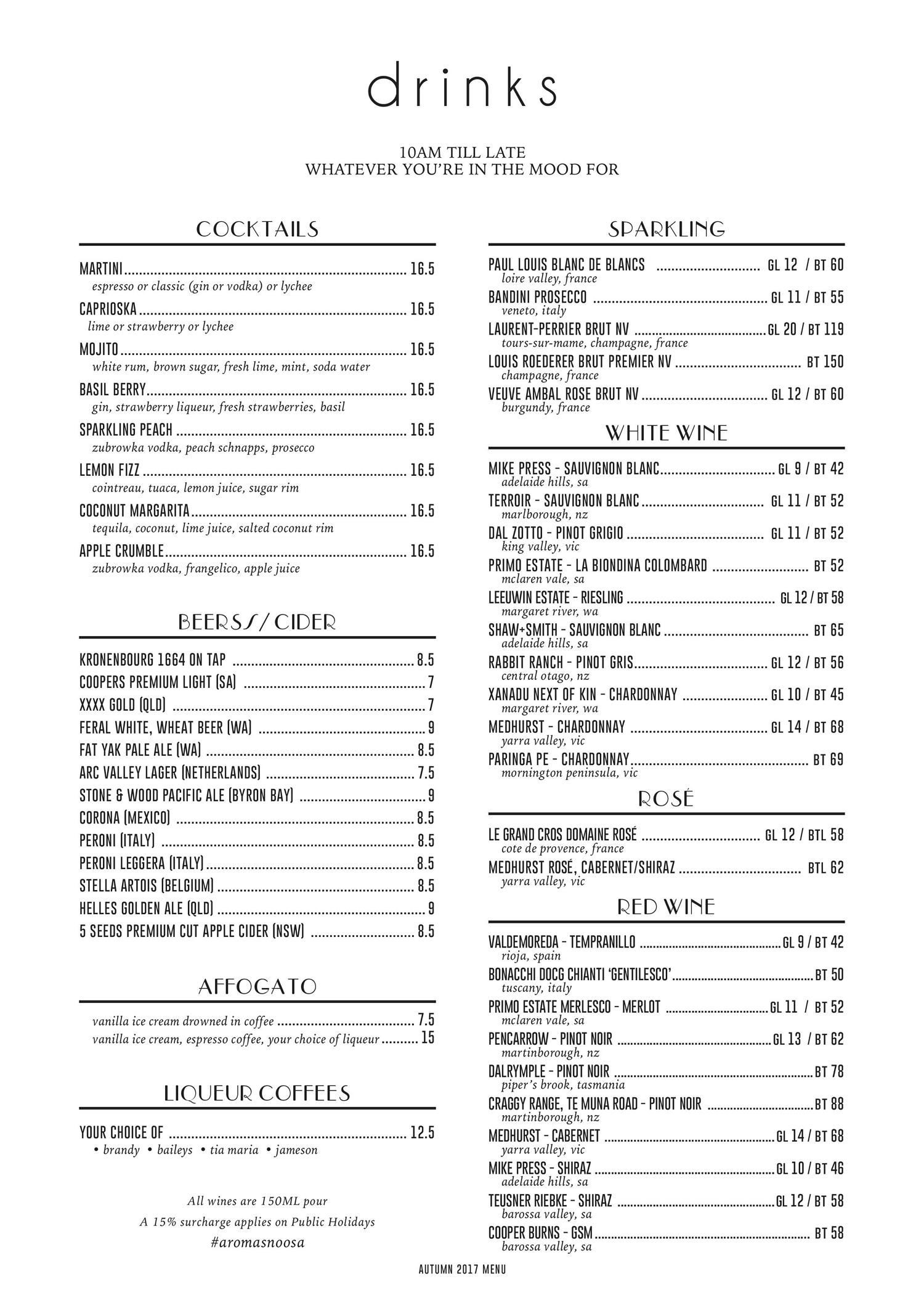 AromasNoosa-Drinks-Menu
